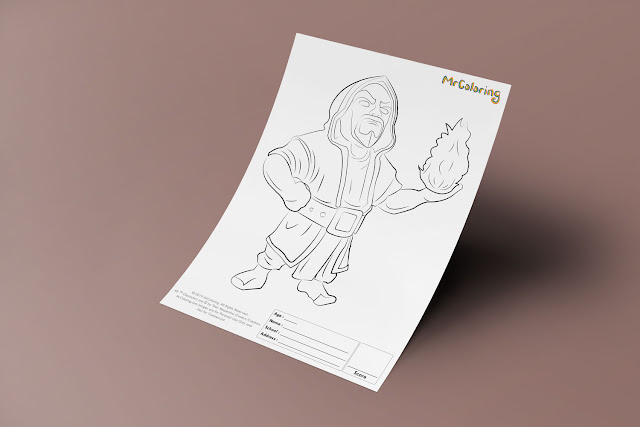 Free Printable Wizard Clash of Clans Template Coloriage Outline Blank Coloring Page pdf For Kids Pictures To Print Out Fun Colouring Pages Kindergarten Preschool Toddler sheet