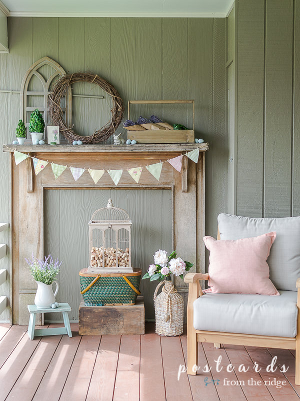 rustic spring mantel decor