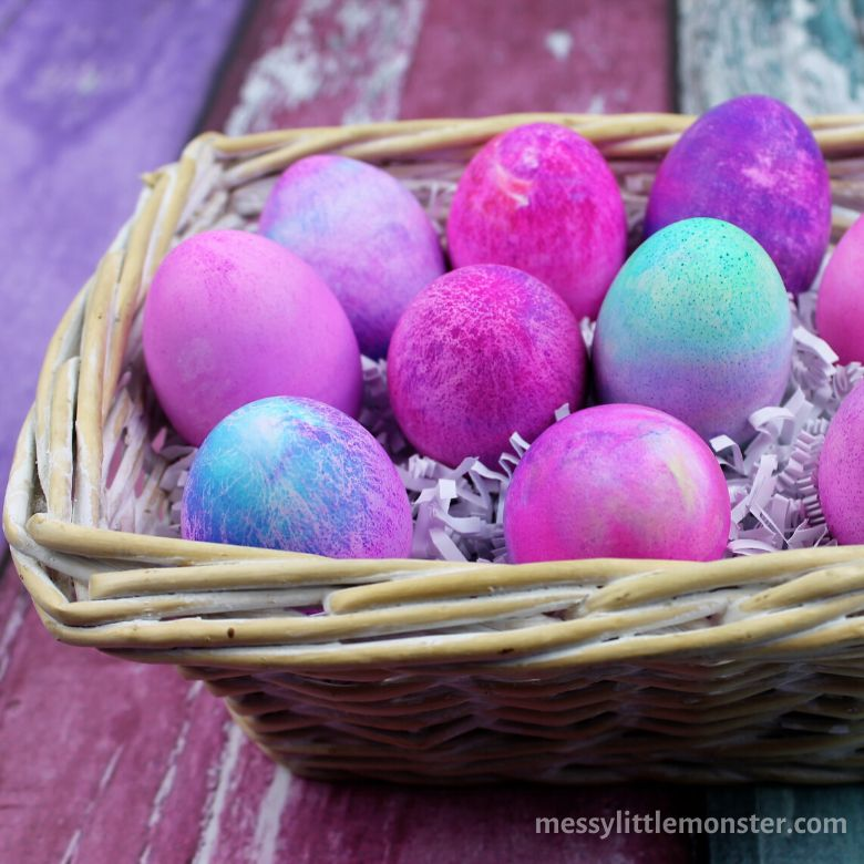 Easter egg decorating ideas - dying eggs with shaving cream