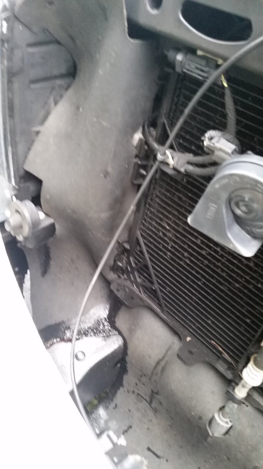 hight resolution of i started experiencing the age old wheezing sound and when i checked under the hood the condenser had splatters of oil on it