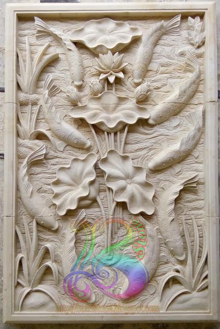 Kerajinan batu alam motif ikan koi 9
