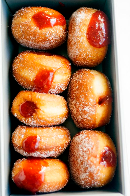 homemade strawberry rhubarb jelly doughnuts