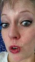 surprise wrinkles blue eyes wing eyeliner lipring