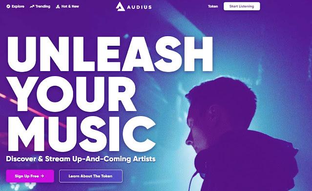 Screenshot Website Audius (AUDIO) Cryptocurrency