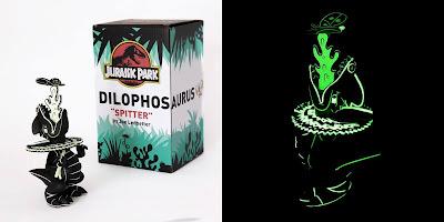 "Jurassic Park 25th Anniversary Dilophosaurus ""Spitter"" Lava Edition GID Vinyl Figure by Joe Ledbetter x 3DRetro"