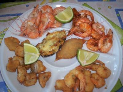Sequência de camarão das praias da Santa Catarina