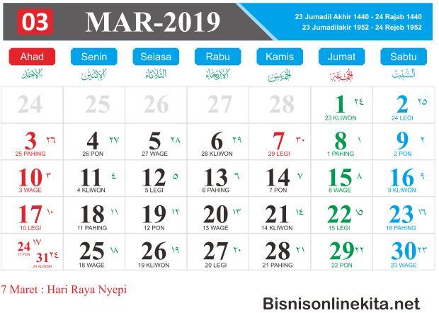 kalender 2019 maret