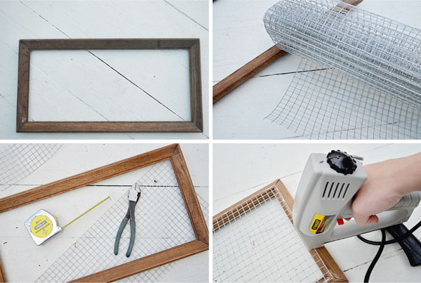 Learn how to construct a DIY message board using an old frame and hardware cloth.