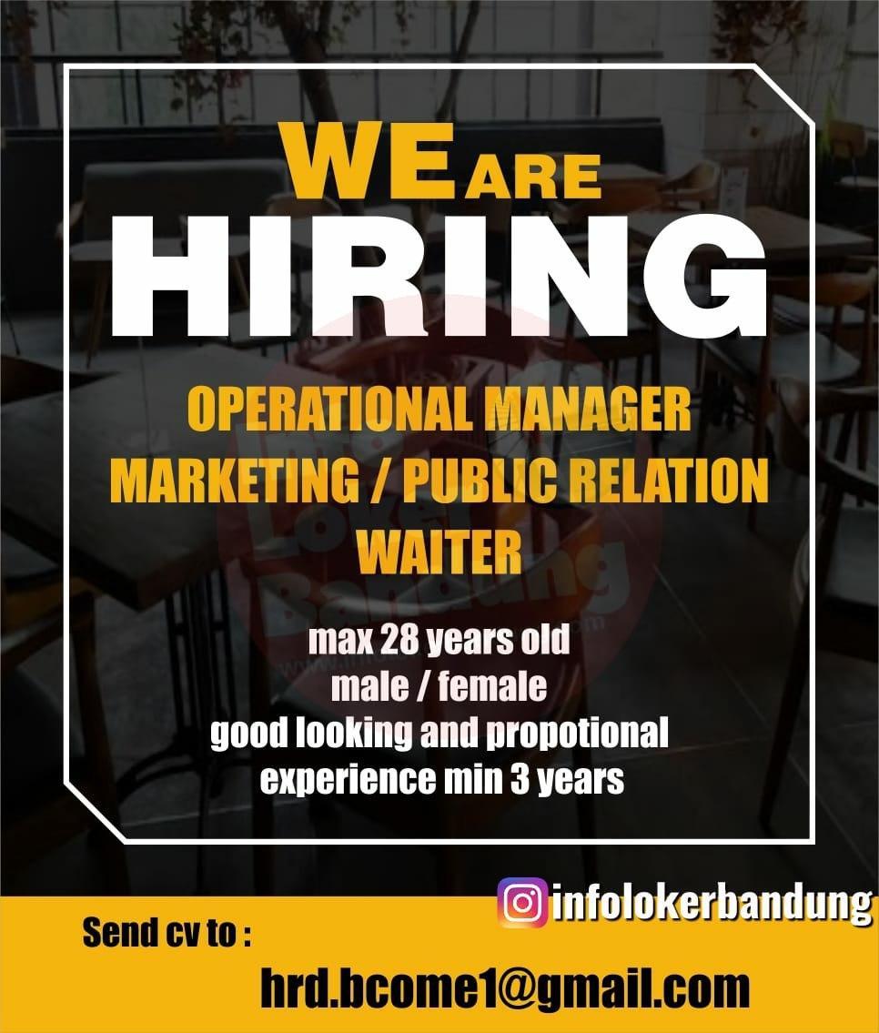 Lowongan Kerja Operational Manager, Marketing / Public Relation, Waiter Bandung Februari 2020