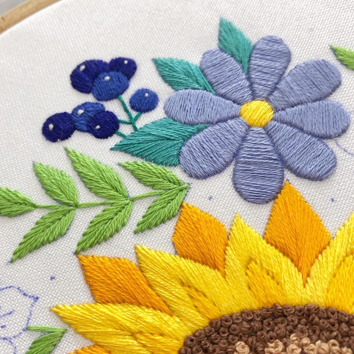 Hướng dẫn thêu hoa hướng dương - Hình 3