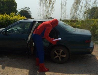 """University Lecturer Disguised In """"Spiderman"""" Costumes To Attend To Students Because Of ASUU Strike"""