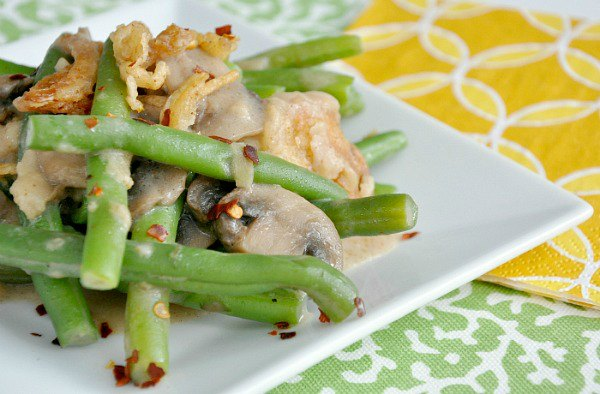 Light + Tasty Green Bean Casserole from peas & crayons