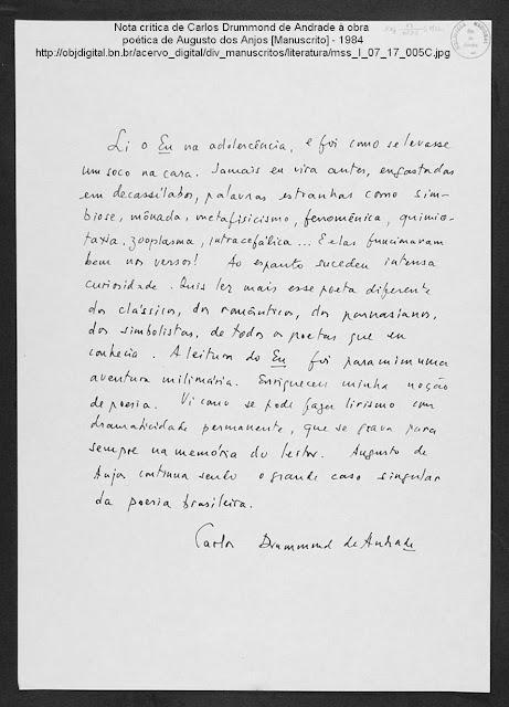 Nota crítica de Carlos Drummond de Andrade à obra poética de Augusto dos Anjos