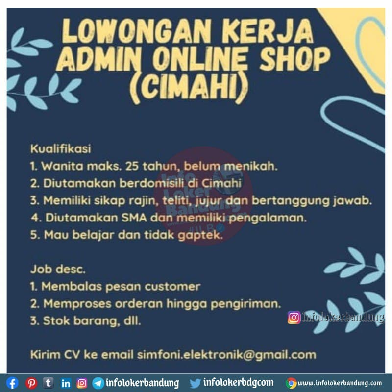Lowongan Kerja Admin Online Shop (Cimahi) Bandung Mei 2021