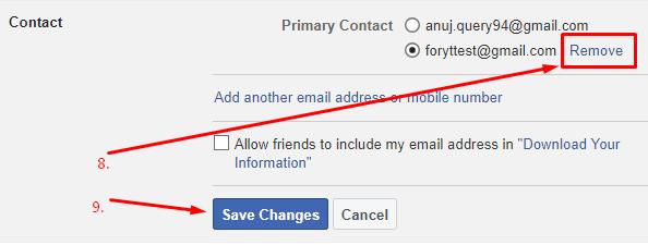 facebook se email id hatana haia