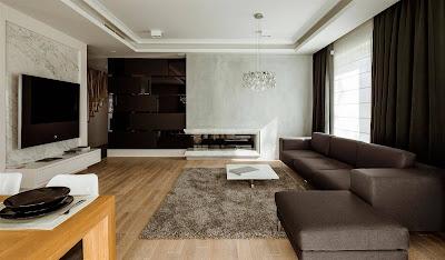 simple tv room minimalist with marble floor