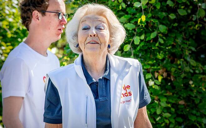 Princess Beatrix of The Netherlands attended the NLDoet 2021 event organized by Oranje Fonds at Thomashuis center