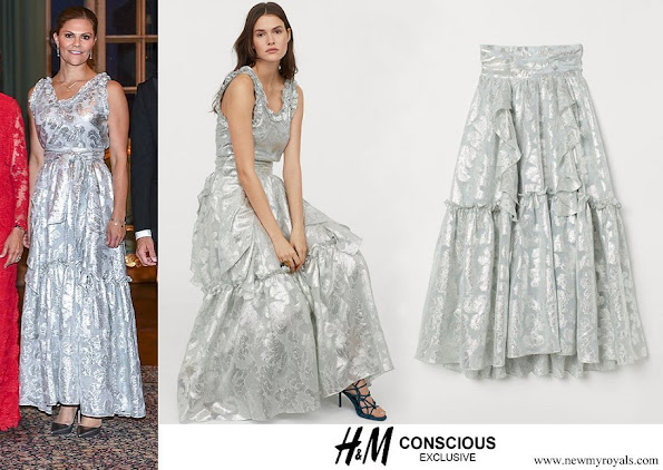 Crown Princess Victoria wore HM jacquard patterned top and wide flounced skirt