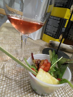 Malivoire Lady Bug Rosé with Cheesy Guys Grillable Cheese, Strawberries and Greens