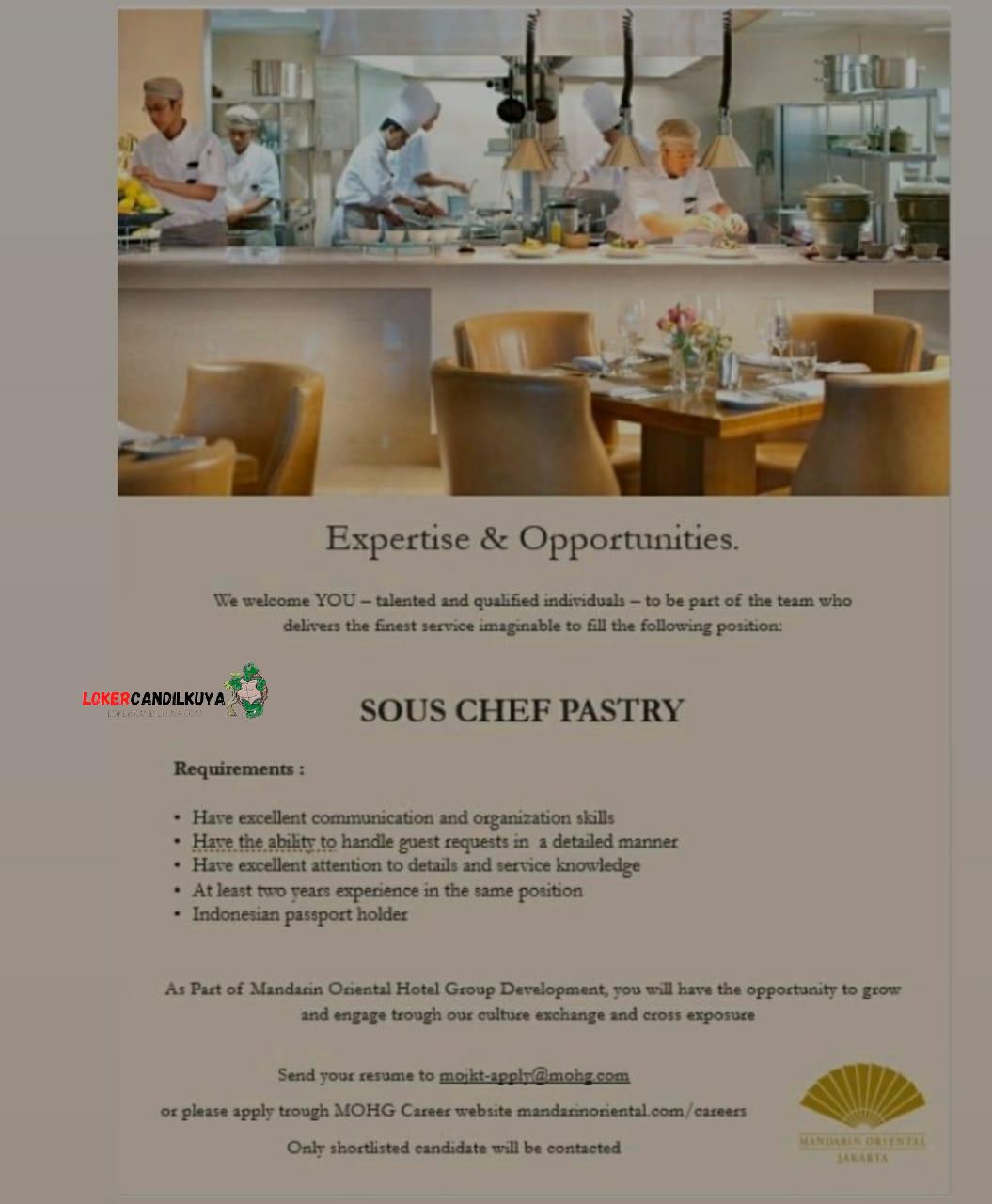 Lowongan Kerja Sous Chef Patry Mandarin Oriental