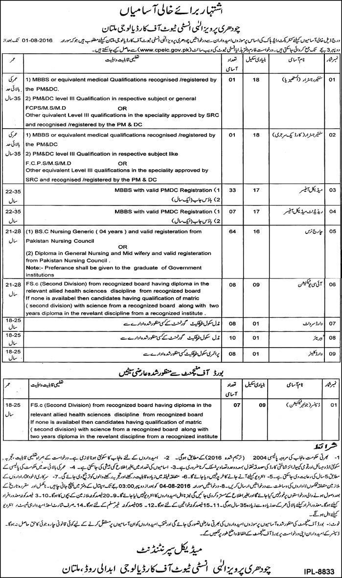 Doctors Jobs in Chaudhry Pervaiz Elahi Institute of Cardiology Multan