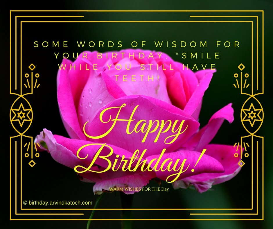 Pink Rose Happy Birthday Card (SOME WORDS OF WISDOM FOR ...