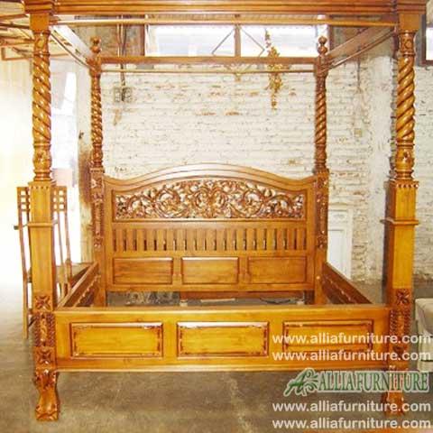 tempat tidur kanopi ukiran rahwana blok