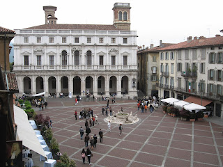 The Biblioteca Civica Angelo Mai stands on the beautiful Piazza Vecchia at the centre of historic Bergamo