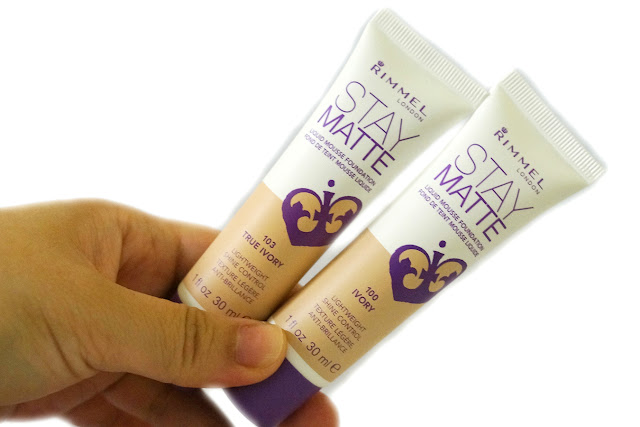 Rimmel London Stay Matte Liquid Mousse Foundation in 100 Ivory and 103 True Ivory