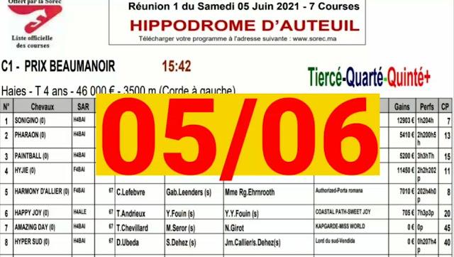 quinté Pronostic quinté+ samedi 05/06/2021