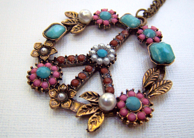 Gemstone Peace Symbol Jewelry
