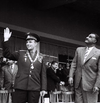 Nasser with Gagarin who was wearing the order  of the Nile