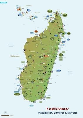 Madagascar, Comoros & Mayotte tourist map