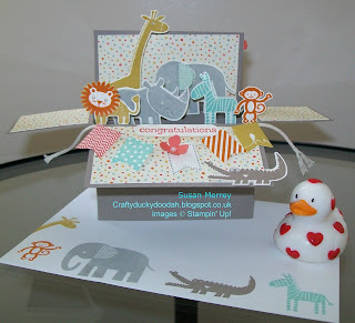 Stampin' Up! Made by Susan Simpson (Merrey) Independent Stampin' Up! Demonstrator, Craftyduckydoodah!, Rectangular Box Card Tutorial, Zoo Babies,