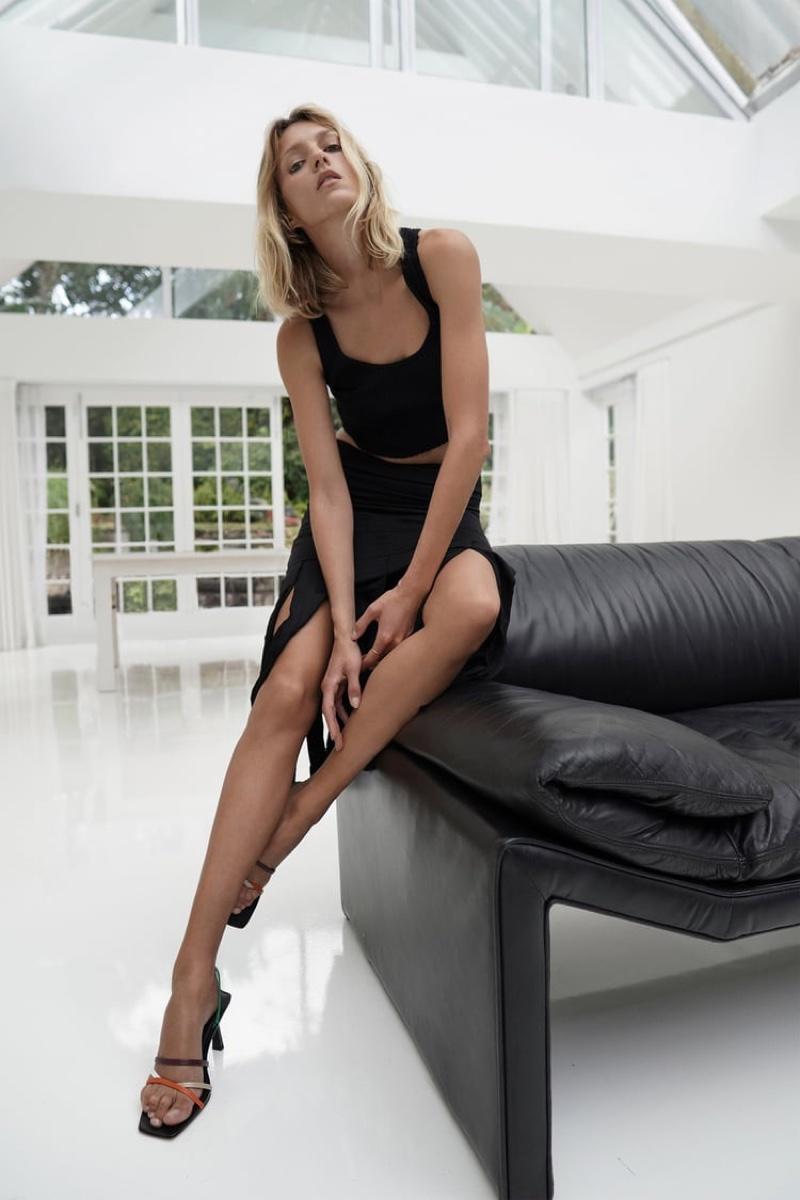 Zara Seamless Crop Top and Fringed Skirt.