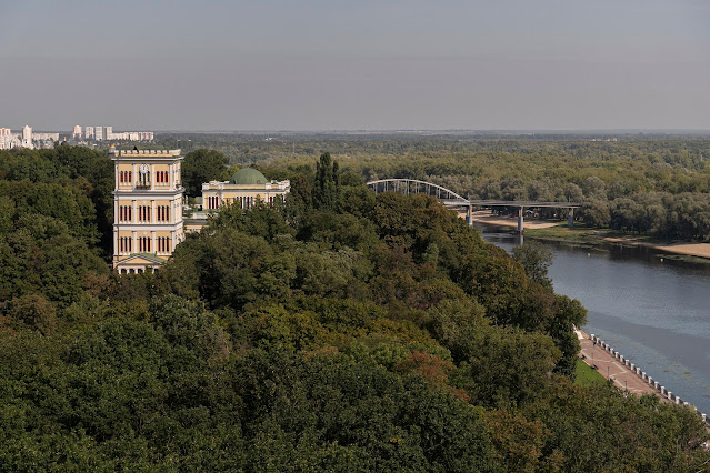 Gomel in the park on the Sozh River Belarus tower