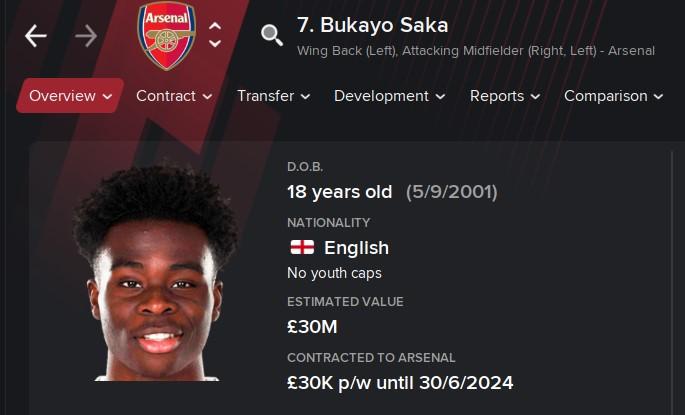 Bukayo Saka FM21 Football Manager 2021 Wonderkid