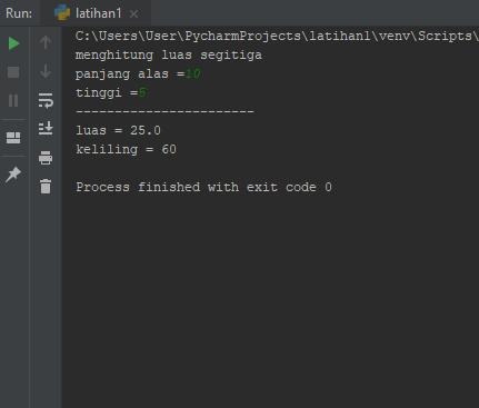 Hasil Menghitung Luas dan Keliling Lingkaran Python