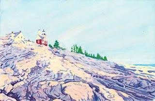 Pemaquid Point Light House - Watercolor By Paul Sherman