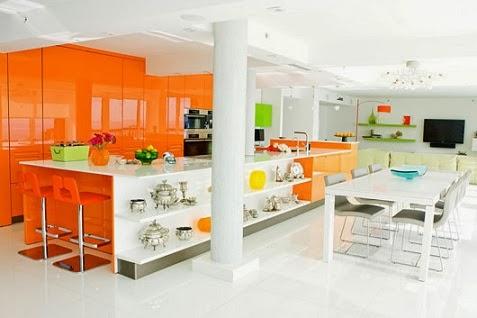 muebles cocina naranja