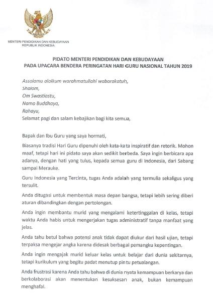 Download Naskah Pidato Sambutan Mendikbud pada Upacara Peringatan Hari Guru Nasional (HGN) Tahun 2019