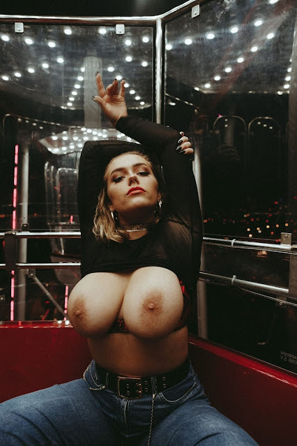 Beautiful woman topless amazing big boobs naked shot 3