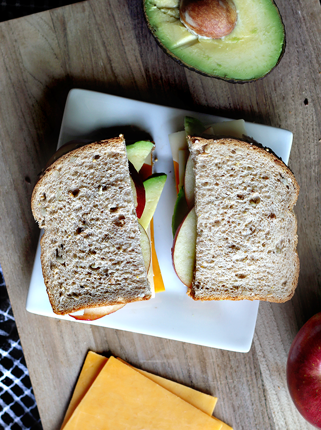 Cheddar + Swiss, Fuji Apple, and Avocado Sandwich