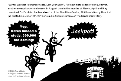 June 16th, 2016 Drawing by Rose Webster / All rights reserved of Zika infected mosquitoes eyeing 2016 Rio Summer Olympic Games Region