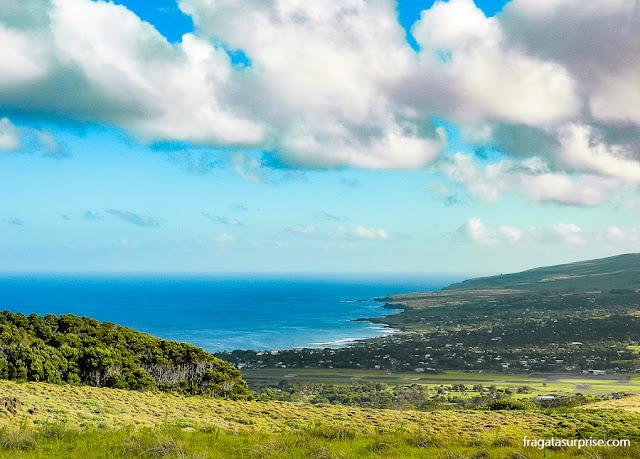 Hanga Roa, capital da Ilha de Páscoa, vista de Orongo
