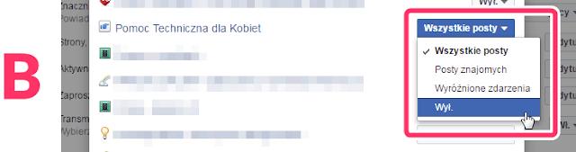 ustawienia powiadomień z grup facebook