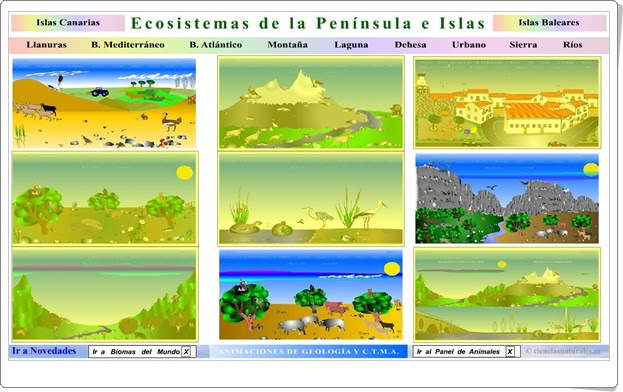 ECOSISTEMAS DE LA PENÍNSULA IBÉRICA E ISLAS (Actividad Interactiva de Ciencias Naturales)