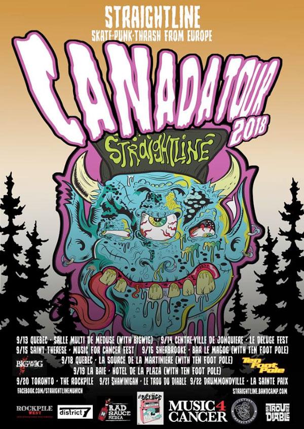 Straightline announce Canada Tour 2018