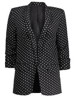 blazer noir femme imprimé pois blanc