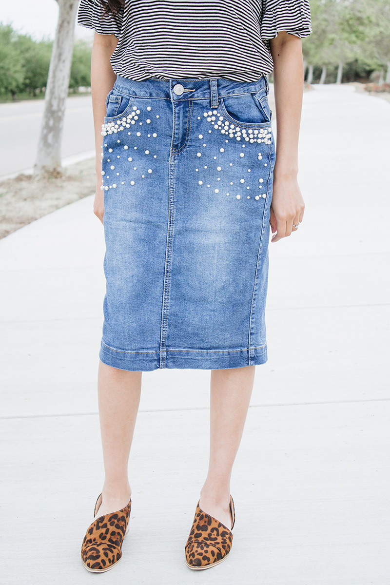 how to alter a denim skirt waistband